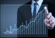 Ilustração empresário e índices subindo em gráfico