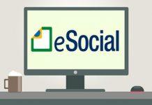 """Ilustração computador com """"eSocial"""" na tela"""