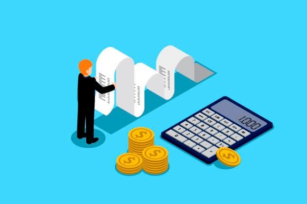 Ilustração de homem em miniatura com fita, moedas e calculadora gigantes