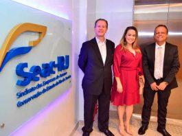 O presidente do Seac-RJ, Ricardo Garcia; a diretora superintendenteda Febrac, Cristiane Oliveira e o presidente da Febrac, Renato Fortuna Campos.