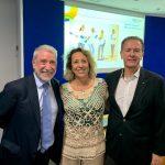 O presidente da Facop, Adonai Arruda; a superintendente-executiva da Facop, Cássia Almeida, e o presidente do Seac-RJ, Ricardo Garcia